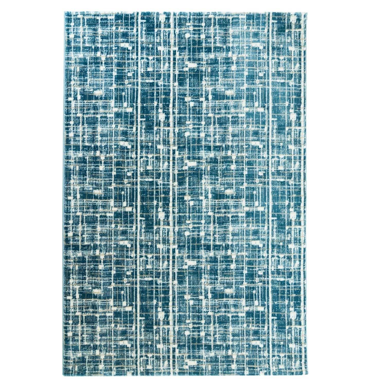 Carpet city Teppich Polyester Flachflor Hochwertig Modern Blau Türkis Hell- Dunkel-Effekt Größe 200 290 cm