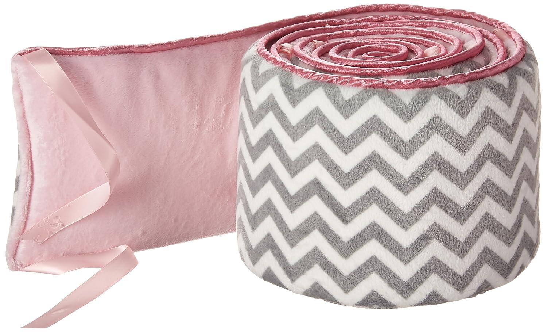 Pink 18 x 36 18 x 36 009243978763 Babykidsbargains Minky Chevron Cradle Bumper