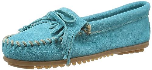 Minnetonka Kilty Suede Moc Kilty Moc - Mocasines de cuero para mujer, color turquesa, talla 36: Amazon.es: Zapatos y complementos