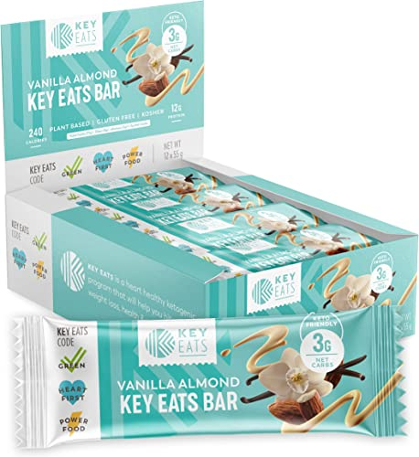 Keto Bars – 12 Count – Gluten Free Keto Friendly Bars Bars, Low Carb, Low Sugar, Kosher, High Fiber Snacks – Plant Based Protein Bars – Individually Wrapped Vanilla Almond