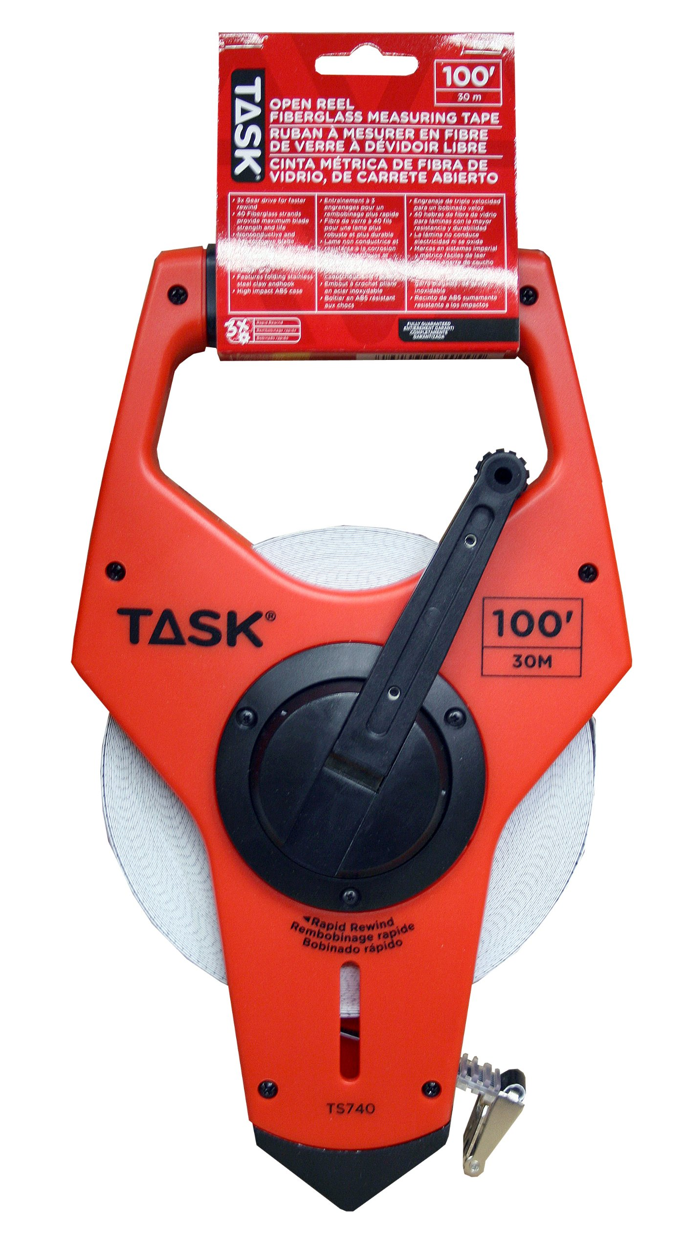 Task Tools TS740 100-Feet Open Reel Fiberglass Tape Measure with 3X Gear Drive