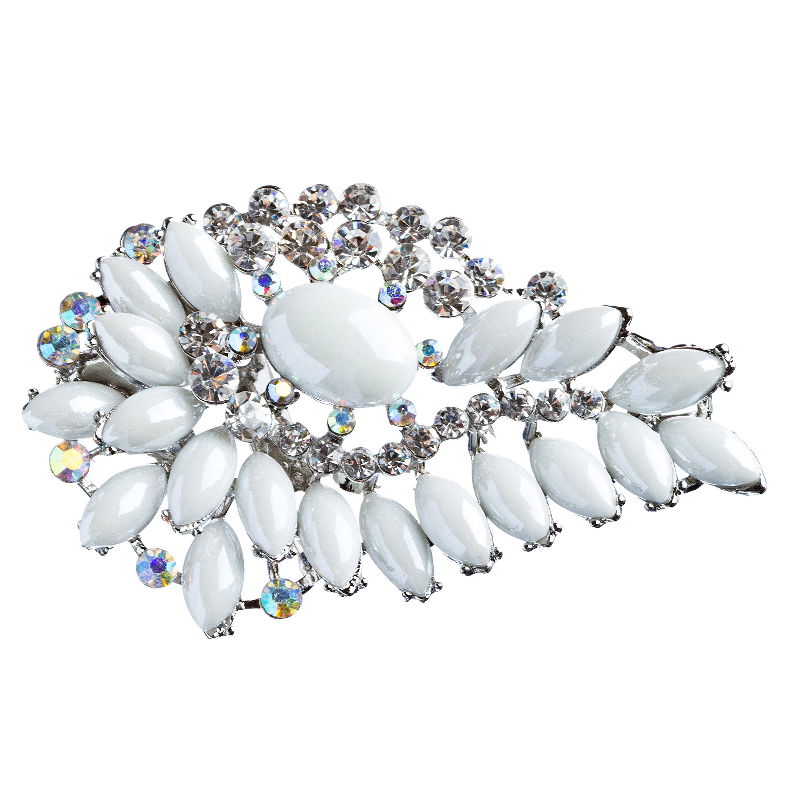 ACCESSORIESFOREVER Women Bridal Wedding Jewelry Crystal Rhinestone Gorgeous Brooch Pin BH175 Silver