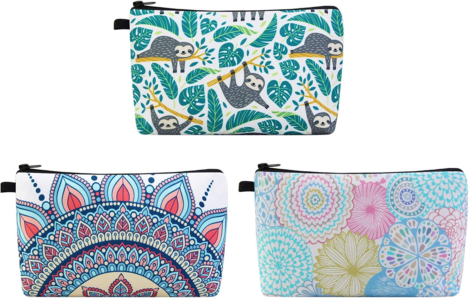 MAGEFY Makeup Bag 3 Styles Portable Travel Cosmetic Bag for Women Flower Patterns Zipper Pouch Sloth Gifts Makeup Pouch for Girls with Black Zipper (3 packs)