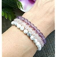 Rose Quartz Amethyst Howlite Anxiety Relief Bracelet Set, Gemstone Bracelets, Includes 3 bracelets