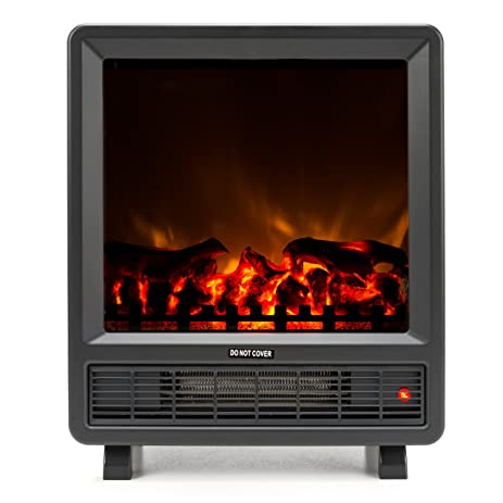 Rochester Portable Electric Fireplace Stove By E Flame USA (Matte Black)    17.5