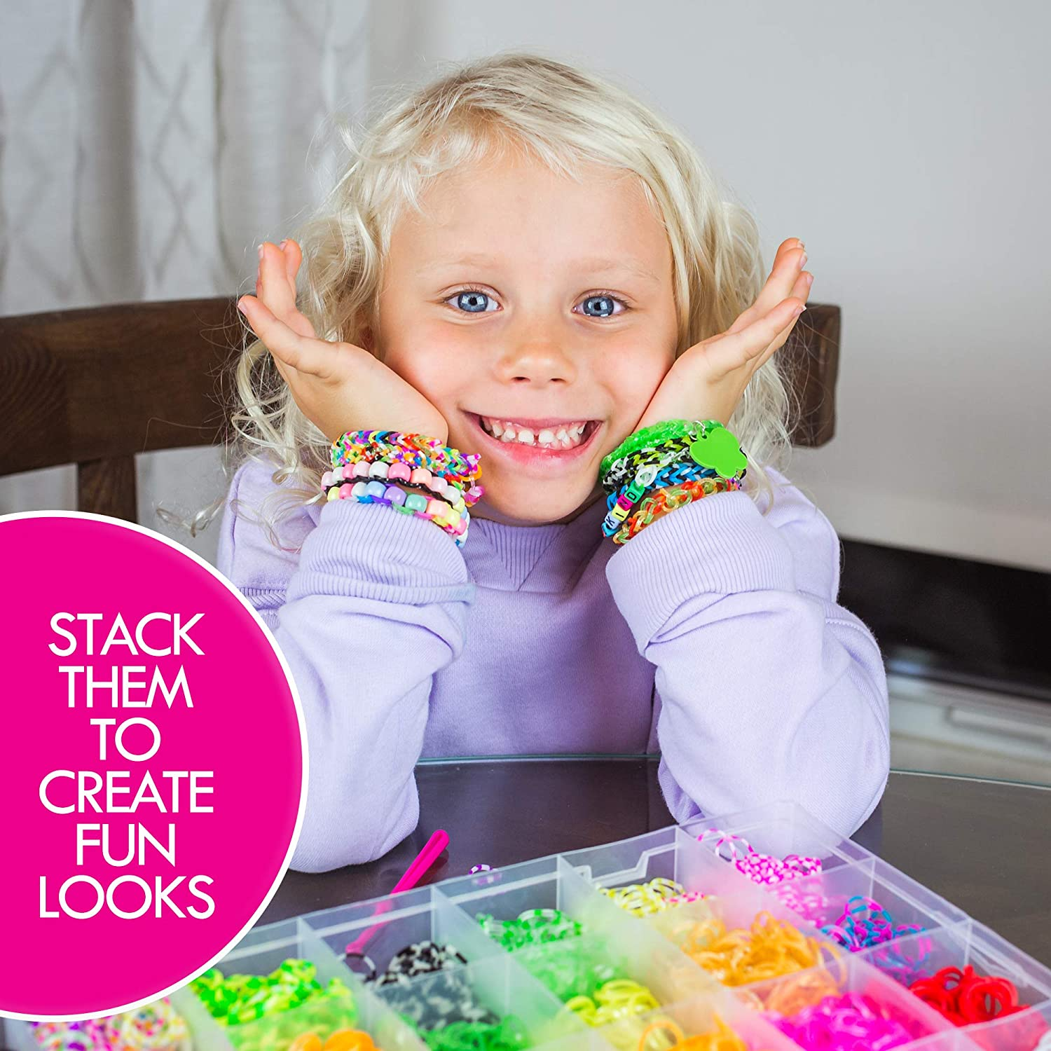 Loom Rubber Bands Kit Charms Hooks Beads and Organizer Case by Glacia Products 9500+ Rainbow Band Bracelet Refill Set for DIY Kids with Weaving Looms Clips