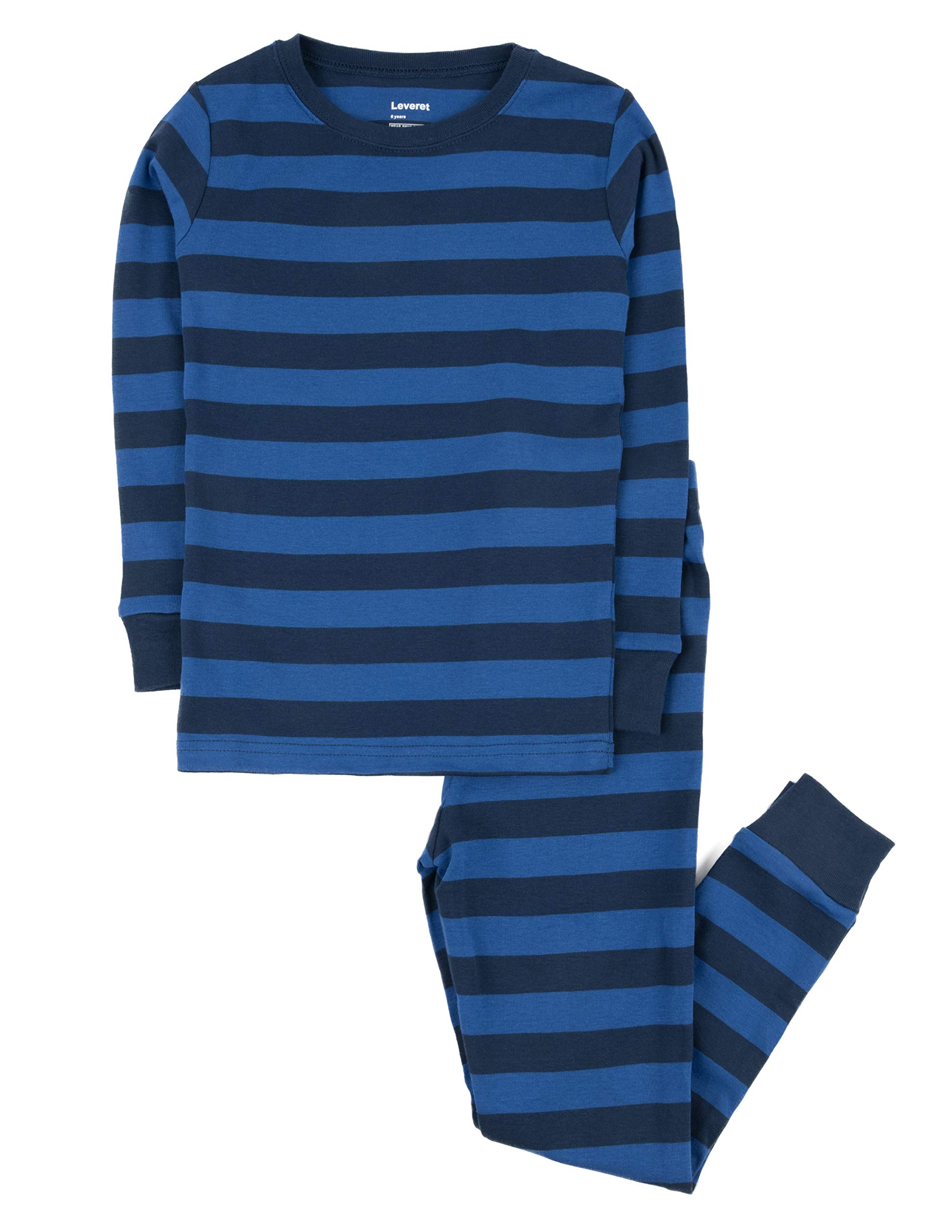 Leveret Striped Kids & Toddler Boys Pajamas 2 Piece Pjs Set 100% Cotton (12 Years, Blue & Navy)