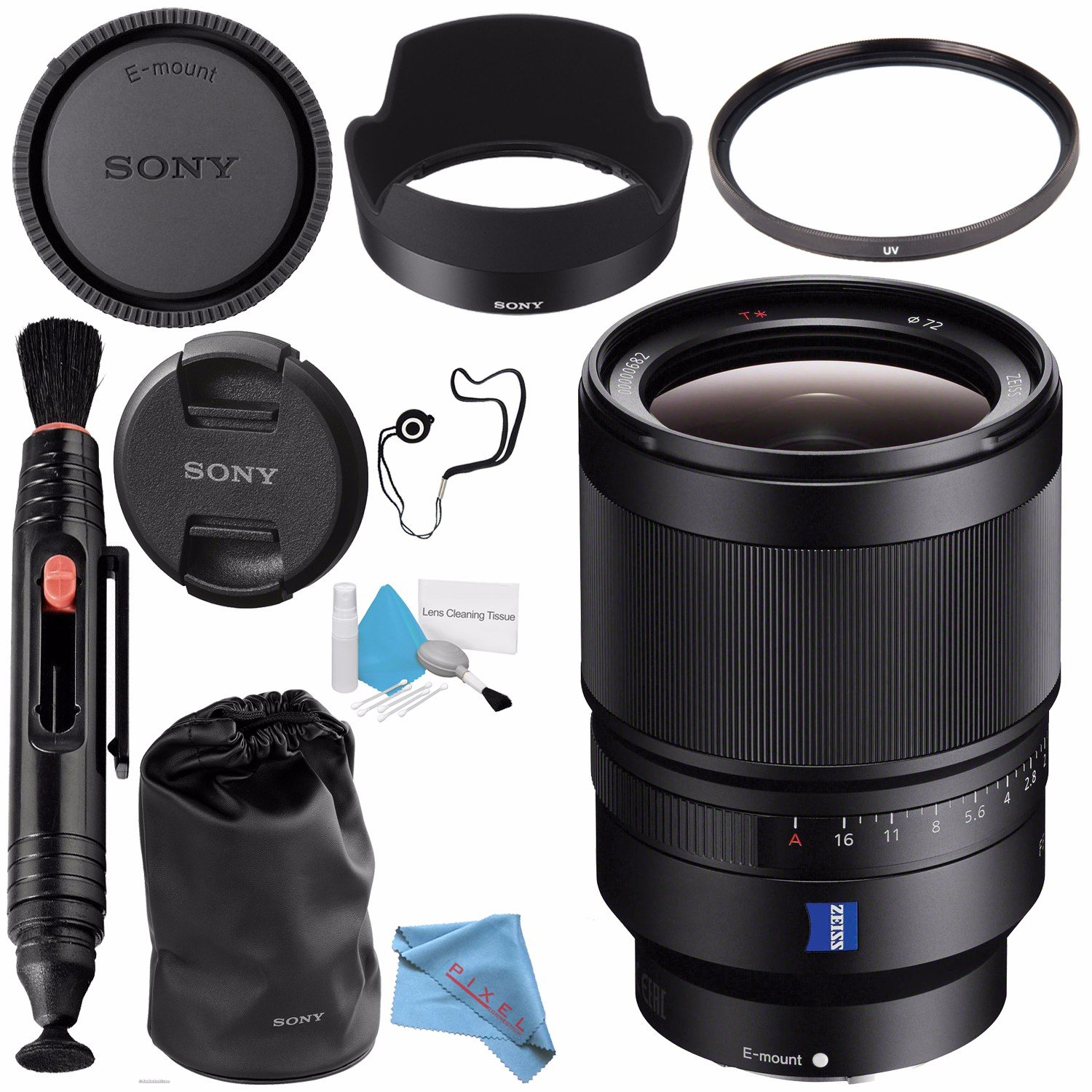 Sony Distagon T Fe 35mm F 14 Za Lens Sel35f14z 72mm Uv Filter Pen Cleaner Fibercloth Capkeeper Deluxe Cleaning Kit Bundle