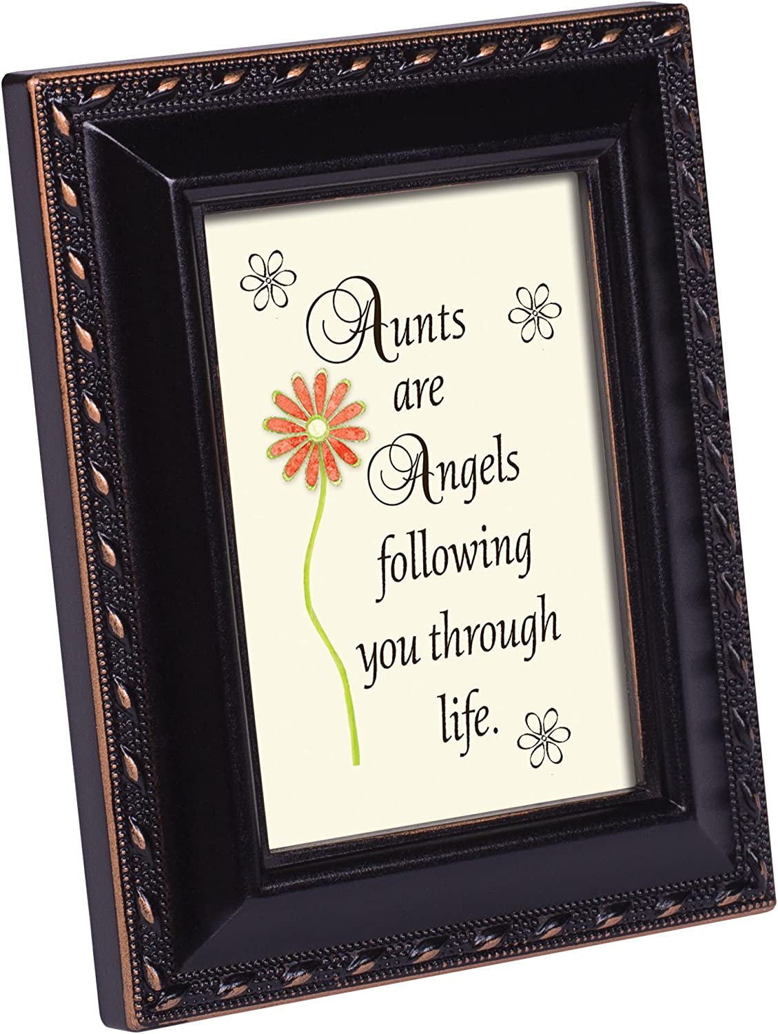 Cottage Garden Aunts are Angels Following You Black Rope Trim 2 x 3 Tiny Frame with Magnet and Easel