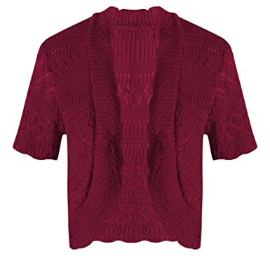 New Womens Ladies Short Sleeve Knitted Crochet Lace Bolero ...
