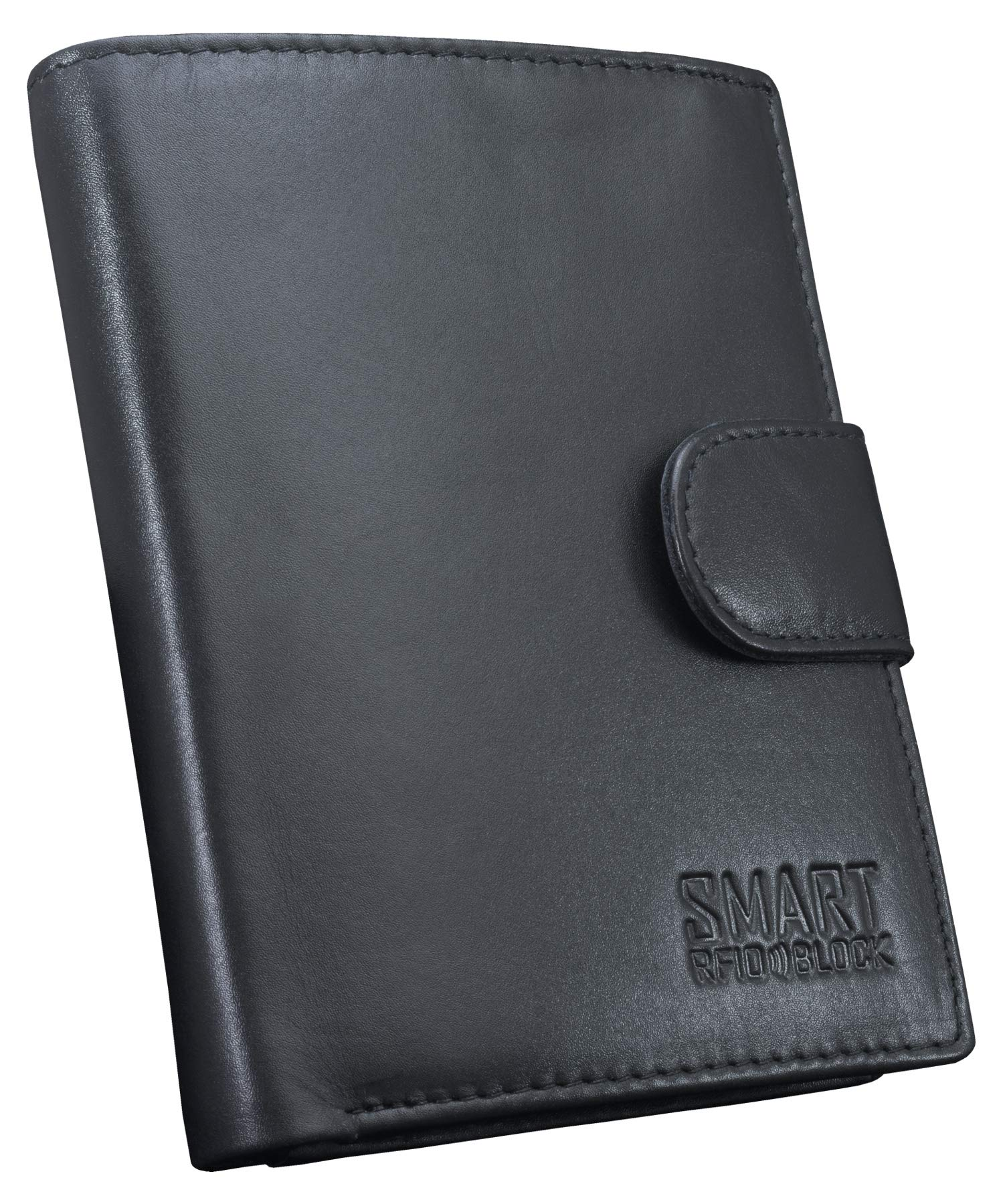 Contactless Card Protection RFID Wallet TUV TESTED /& CERTIFIED by KORUMA Black Genuine Cow Leather Picasso SMART RFID BLOCK collection SM-904PBL