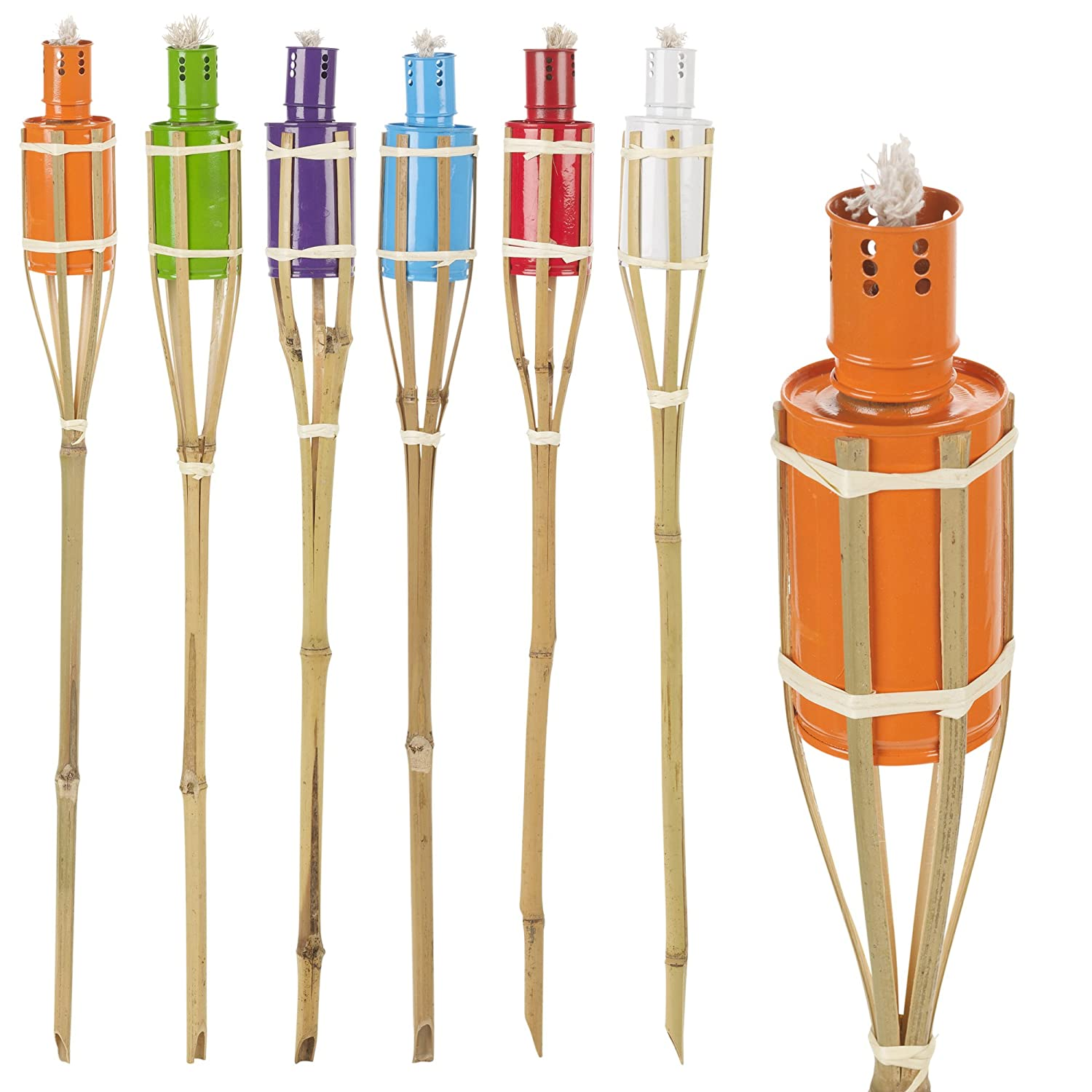 6 Assorted Colour Outdoor Garden Oil Paraffin Torches 60cm Bamboo Burners EGT