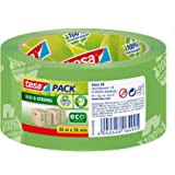 tesa UK 100% Recycled ecoLogo Printed Packaging Tape, 66 m x 50 mm - Green