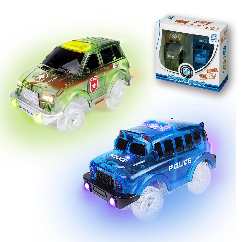 KaliningEU Rennauto(2 Stück) Licht Spur Rennwagen Spielzeug Auto, 5 LED Lichter Schulbus und Polizeiautos Kompatibel mit den Meisten Spur,RC 4X4,Auto Endloser Spaß für Jungen Mädchen
