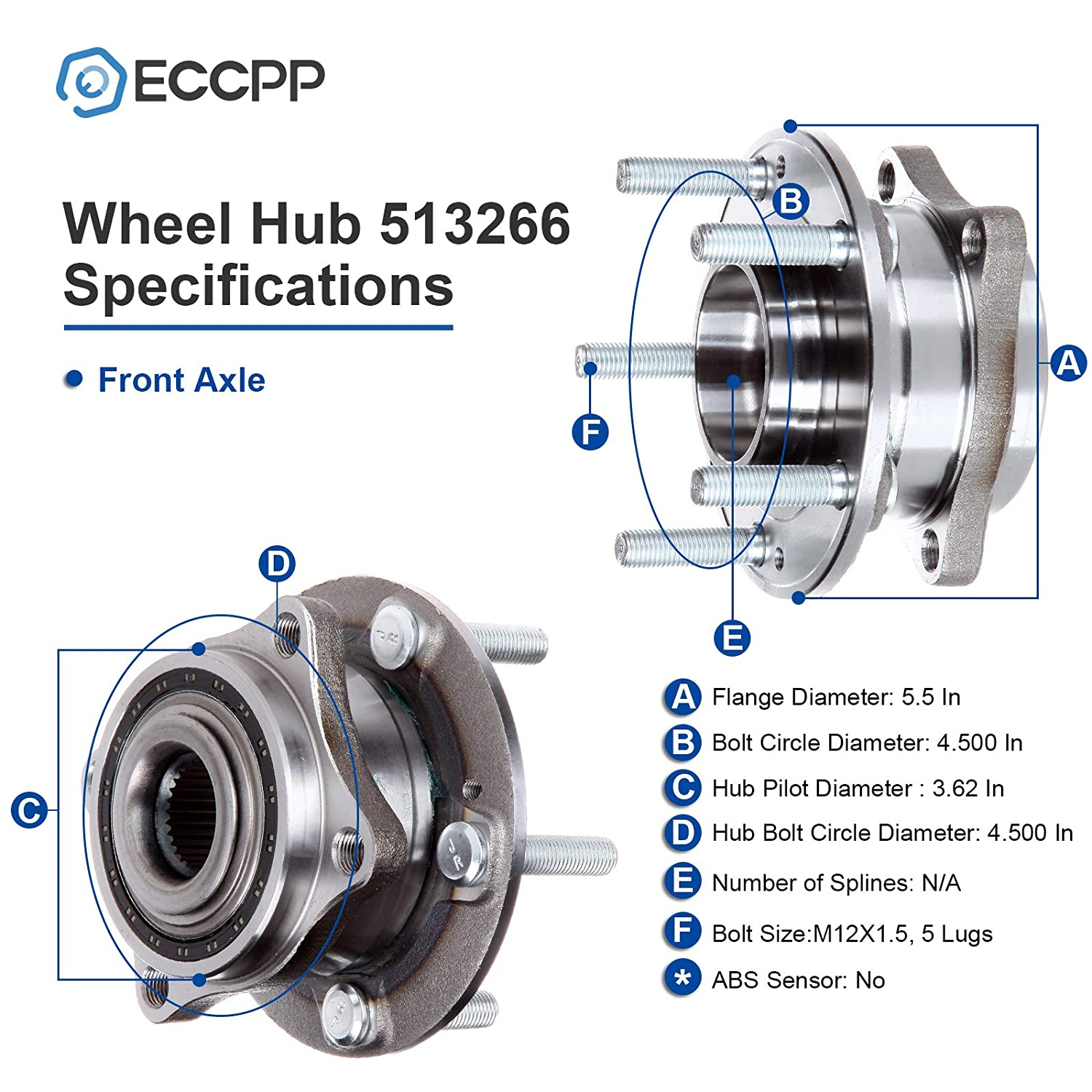 ECCPP Front Wheel Hub Bearing Assembly 5 Lugs for Hyundai Kia Compatible with 513266