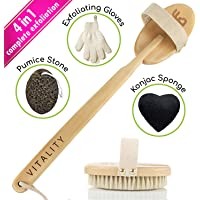 Premium Dry Brushing Body Brush for Lymphatic Drainage & Cellulite Treatment! Plastic-Free Natural Exfoliating Brush Set with Scrub Gloves, Konjac Sponge, Pumice Stone for Glowing More Youthful Skin!
