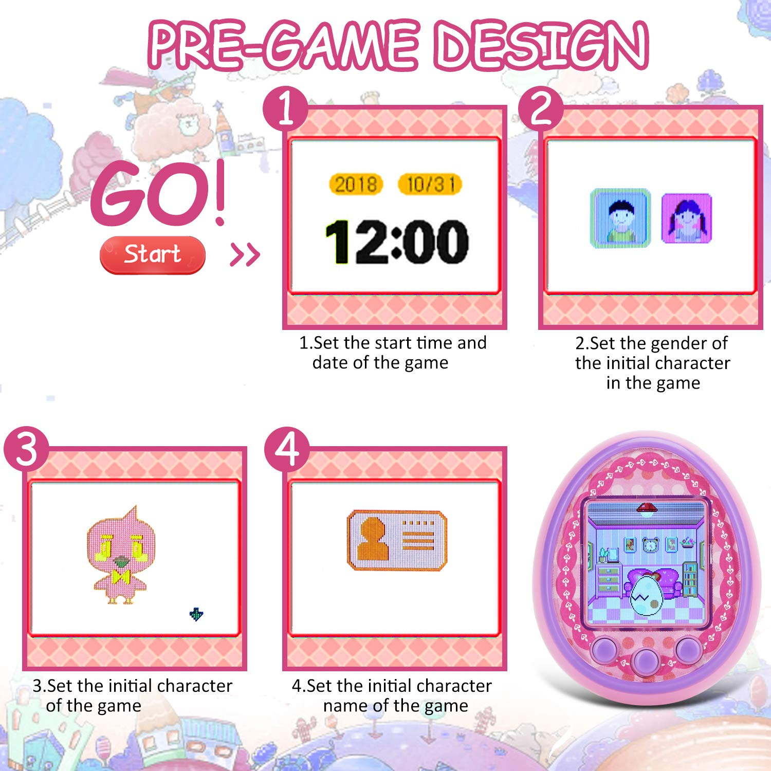 Virtual Digital Pets Toys Electronic Pets Game Machine HD Color Screen for Over 6 Years Old Child Toy 2019 New Version as a Best Birthday Gift for Boys Girls by Touma pets (Image #3)