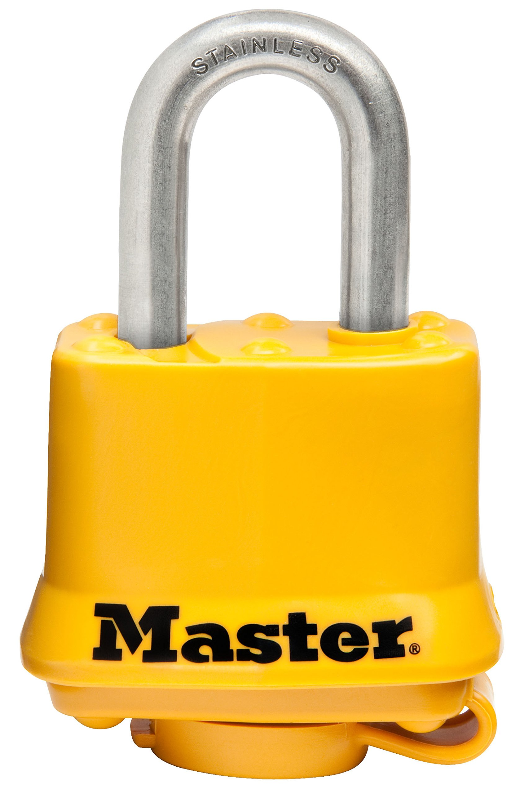 Master Lock Padlock, Covered Stainless Steel Lock, 1-9/16 in. Wide, Yellow, 315SSKAD