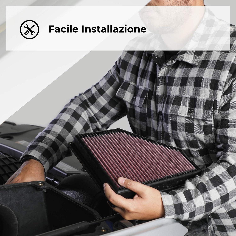 K N /& 33-2488-Ricambio Filtro dellAria Auto Lavabile e Riutilizzabile