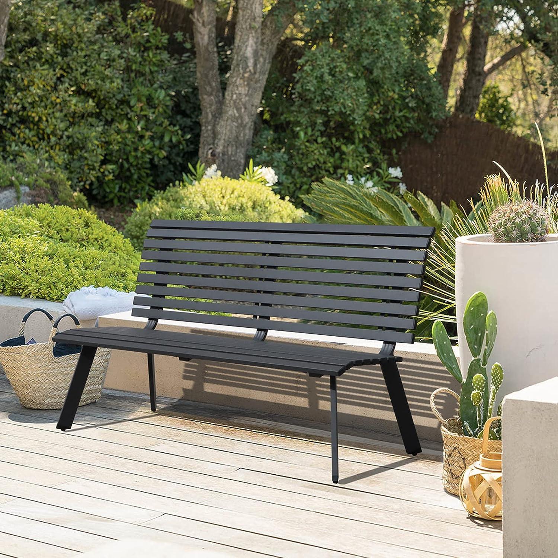 Soleil Jardin Outdoor Aluminum Garden Bench, Patio Porch Chair Furniture, Slatted Design w/Backrest, Dark Grey