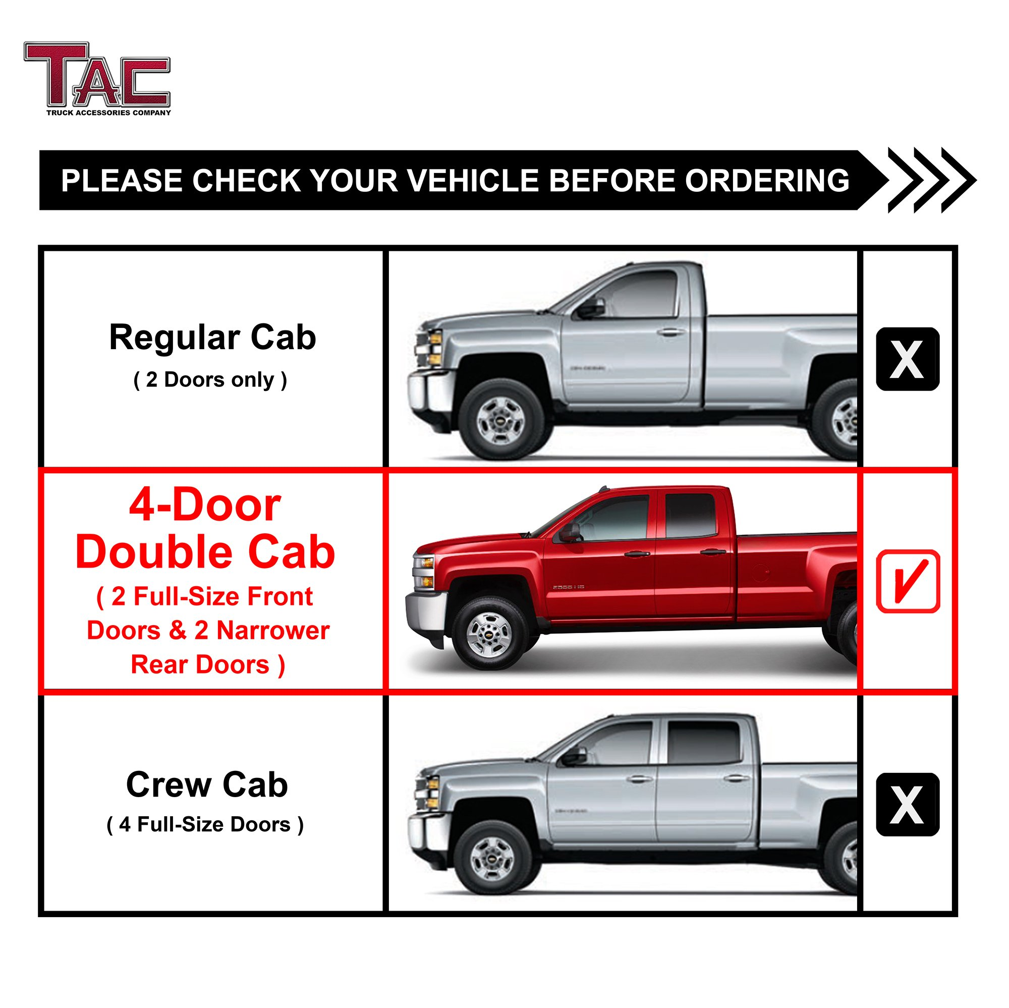 TAC Side Steps Fit Chevy Silverado/GMC Sierra 1999-2018 1500 & 1999-2019 2500/3500 Extended/Double Cab (Excl. C/K Classic) 3'' Stainless Steel Side Bars Nerf Bars Step Rails Running Boards 2 Pieces by TAC TRUCK ACCESSORIES COMPANY (Image #4)