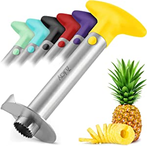 Zulay Kitchen Pineapple Corer and Slicer tool - Stainless Steel Pineapple Cutter for Easy Core Removal & Slicing - Super Fast Pineapple Slicer and Corer Tool Saves you Time - Yellow