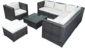 FYH Patio Furniture Sets, Outdoor PE Rattan Sectional Sofa, 8-Piece Patio Wicker Corner Sofa with Cushions, Ottoman and Coffee Table (Grey)