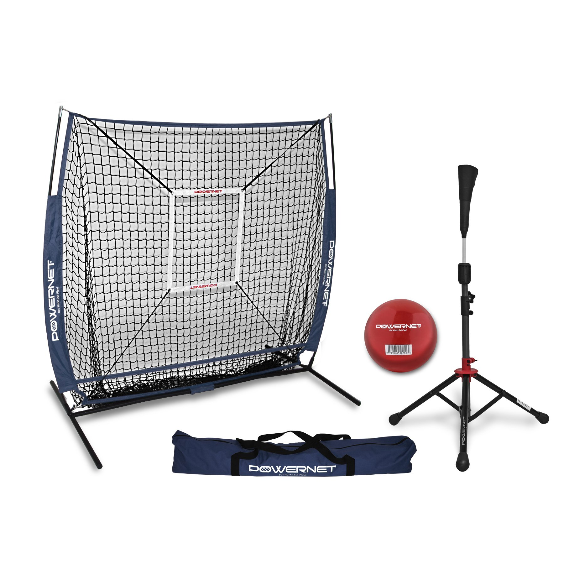 PowerNet 5x5 Practice Net + Deluxe Tee + Strike Zone + Weighted Training Ball Bundle (Navy) | Baseball Softball Pitching Batting Coaching Pack | Work on Pitch Accuracy | Build Plate Confidence