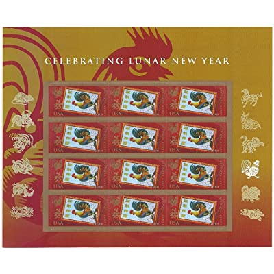 Year of the Rooster Lunar New Year 2019 Sheet 12 Forever Stamps By USPS