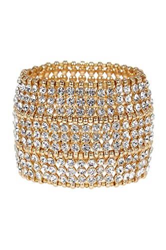 Natasha Accessories Natasha Crystal Gold-Tone Stretch Bracelet ZBSzwU