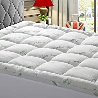 KARRISM Extra Thick Mattress Topper, Cooling Mattress Pad Cover Topper, Bamboo Fiber Pillow Top (8-21Inch Deep Pocket…