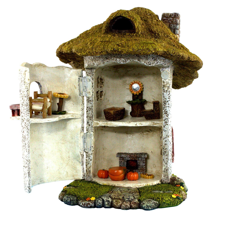 PRETMANNS Fairy Garden House Kit - Miniature Accessories & Furniture - House is 9.25''High - Door Opens Wide - Fairy Garden Supplies