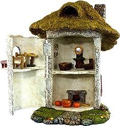 "Pretmanns Fairy Garden House Kit - Miniature Accessories & Furniture – House is 9.25""High – Door Opens Wide – Fairy Farm Collection – Fairy Garden Supplies"