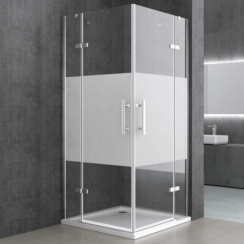 doporro Cabina de ducha de esquina Ravenna30MS 100x140x195cm Mampara de vidrio de seguridad con franjas de vidrio esmerilado que incluye revestimiento para fácil limpieza: Amazon.es: Bricolaje y herramientas