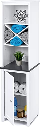 Best Choice Products Wooden Standing Storage Cabinet Tower for Toiletries, Linens, w Faux-Slate Adjustable Shelves, White
