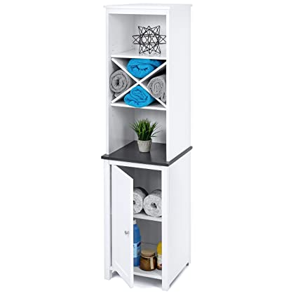 Best Choice Products Wooden Bathroom Tall Tower Storage Cabinet Organizer  W/Faux Slate Adjustable