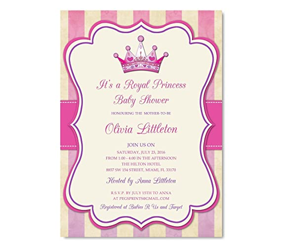 Royal Princess Baby Shower Invitation   Princess Baby Shower Invitations  Girl   Royal Baby Shower Invitation
