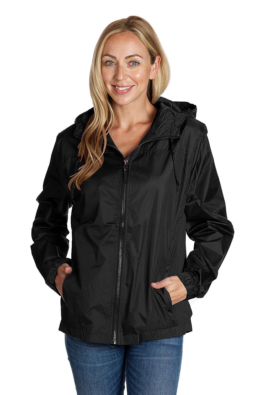 Equipment De Sport USA Ladies Hooded Wind Resistant//Water Repellent Black Windbreaker Jacket,Black,X-Small