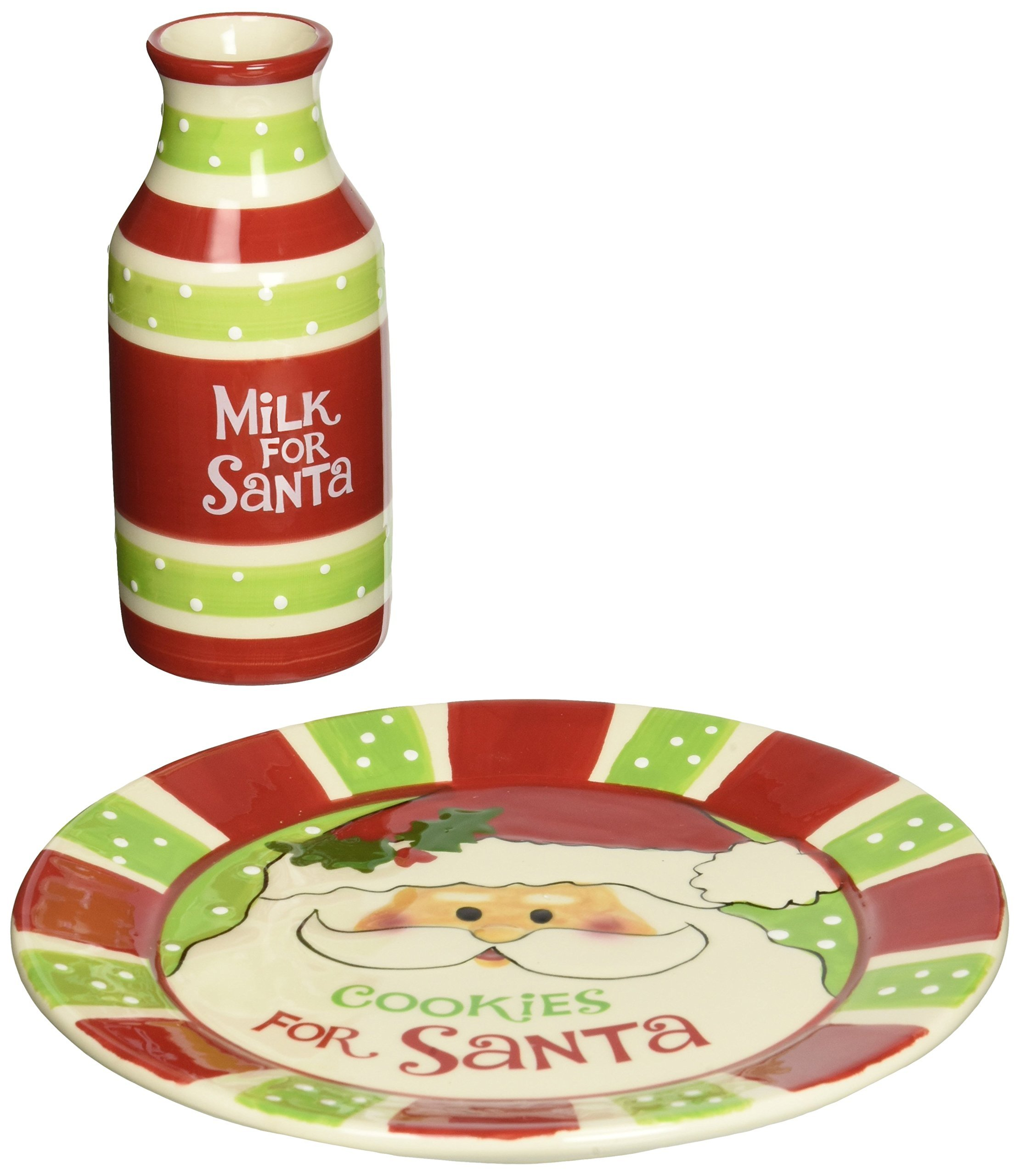 ''Cookies For Santa'' Christmas Gift Set with Plate and Milk Bottle