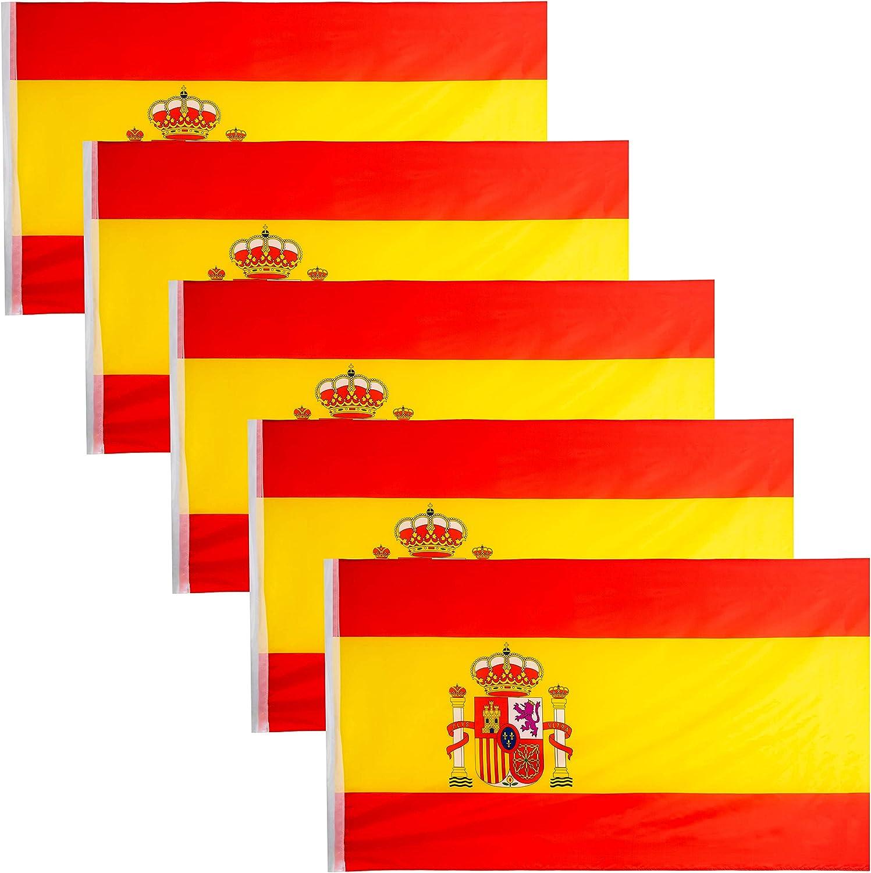 JEVX Banderas de España 145x90cm 5 Unidades Grandes para Colgar en Mastil Bandera Española con Escudo Nacional para Uso Exterior e Interior Bordes Reforzados: Amazon.es: Jardín