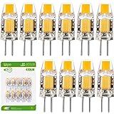 Liqoo 10er G4 LED Lampe COB LED Birne 2800K Warmweiß 1,2W 120 Lumen Ersetzt 10W Halogenlampen Abstrahlwinkel 260º AC DC 12V Ø9,6 x 30mm