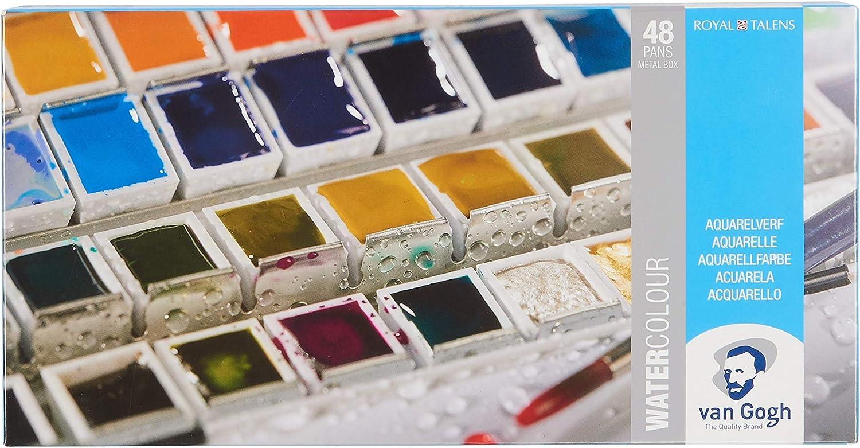Amazon Com Van Gogh Watercolor Paint Set Metal Tin 48 Half Pan