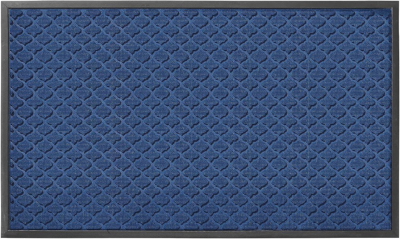 DEXI Large Rubber Doormat Indoor Front Door Mat Entrance Outdoor,Heavy Duty Rubber Outside Floor Rug Waterproof Low-Profile,3'x5',Navy Blue