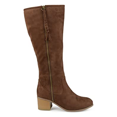 282c0739866 Brinley Co. Womens Regular and Wide Calf Faux Suede Mid-Calf Stacked Wood  Heel