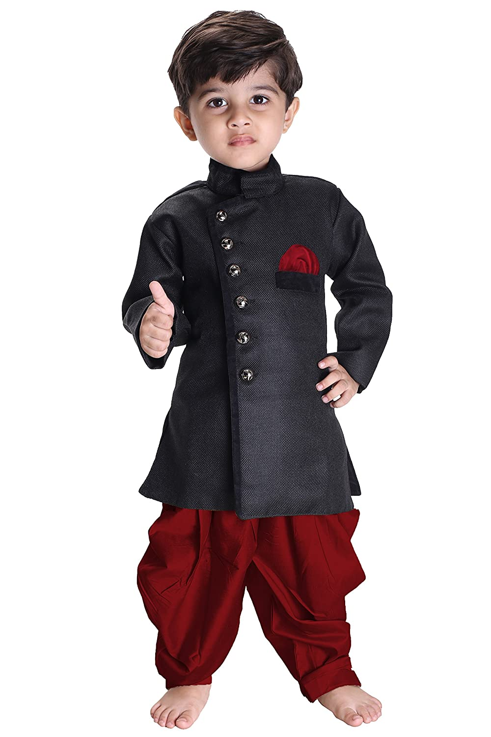 VASTRAMAY JBN Creation Boys' Black Cotton Blend Sherwani Style Kurta Set(VASBSW120MA)
