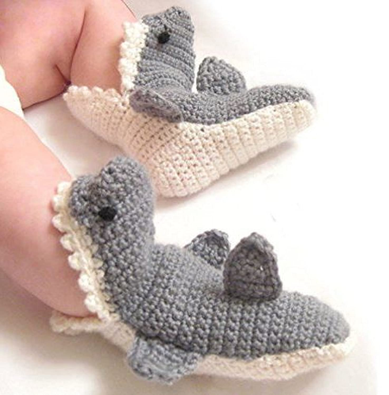 Amazon.com : Handmade Crochet Shark Socks (6-9 months) : Baby