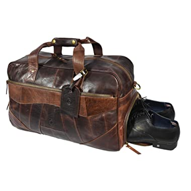 19 Inch Leather Travel Duffle Bag For Men Overnight Weekend Luggage Carry On Duffel Bag (Hickory)