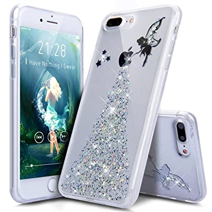 competitive price 49e07 fca97 iPhone 8 Plus Case,iPhone 7 Plus Case,ikasus Crystal Clear Bling Glitter  Sparkle Angel Girl Ultra Slim Flexible Frame Silicone Soft TPU Bumper  Rubber ...