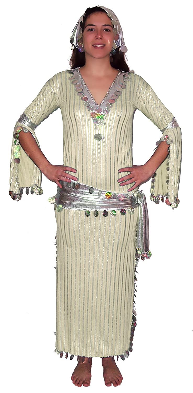 4250e61fd68b4 Amazon.com: Egypt Mart Women Belly Dance Baladi Galabeya Dress (Cream&  Silver): Clothing