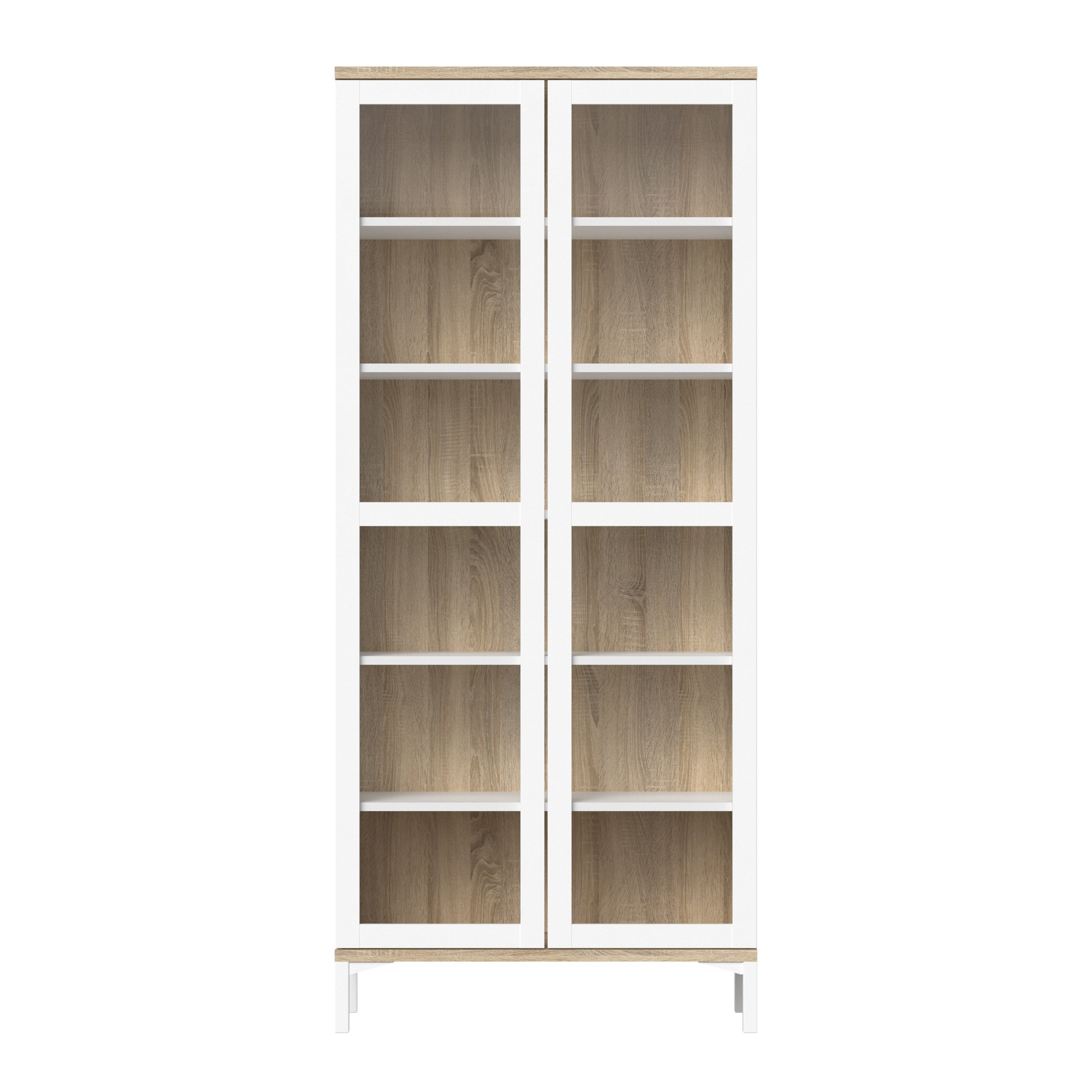 Tvilum Aberdeen 2 Door China Cabinet, White/Oak Structure by Tvilum